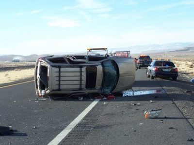rollover accident on a highway