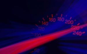 speedometer shows 220 mph