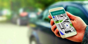 Using ridesharing app on a smartphone