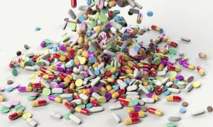 Piles of medication pills