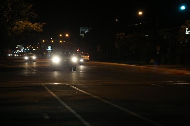 Cars driving at night road