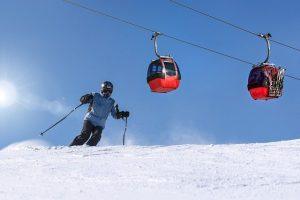 Man skiing in the ski resort
