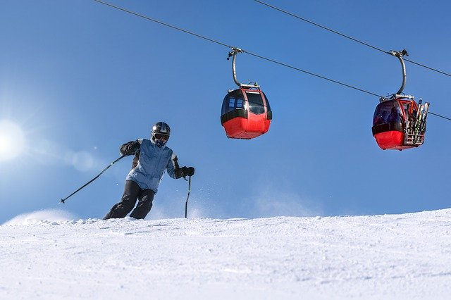 Man skiing in the ski resort