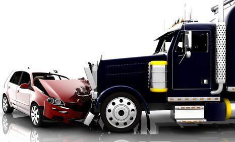 Heads-on collision between a truck and a car