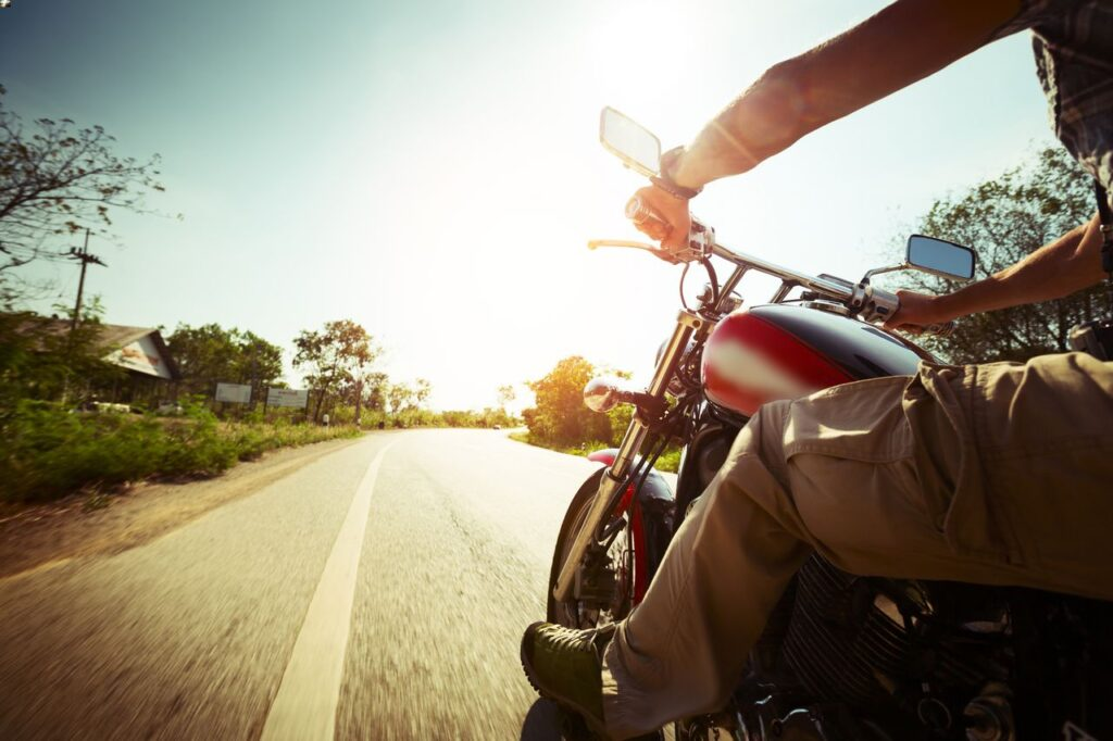 Riding a motorcycle on road