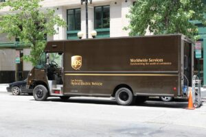 UPS truck parked on road