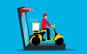 Cartoon of a online food deliver driver